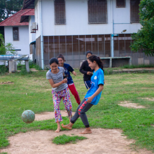 TJSSS students playing soccer