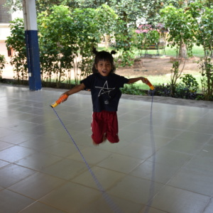Playing skipping rope