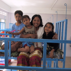 Children and Staff in Dormitory