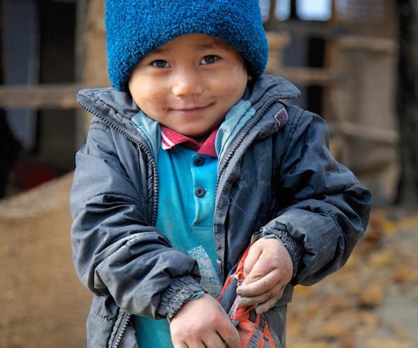 Nepal Boy In Rural Village