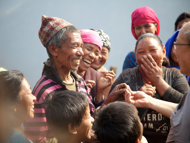 Nepal Villagers Laughing At Magic Trick